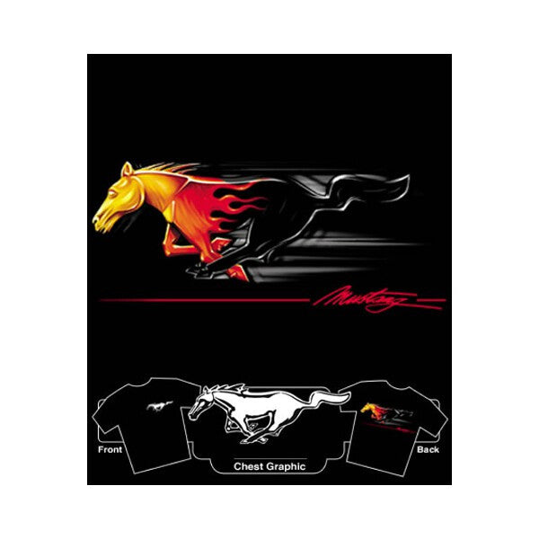 Flamin' Mustang Black T-Shirt