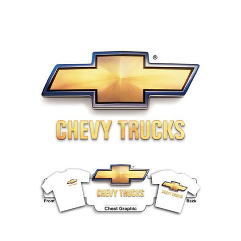 Chevy 3D Truck Bowtie on White T-Shirt