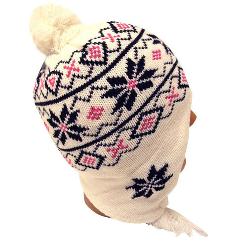 White Knit Beanie with Ear Flaps