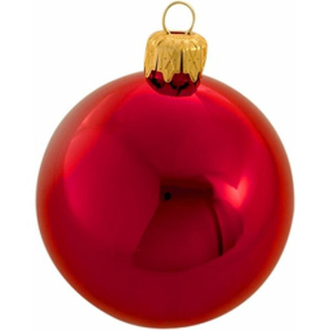 65mm Box of 6 Shiny Red Christmas Tree Balls