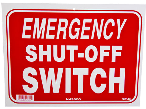 Pool Emergency Shut Off Switch Sign