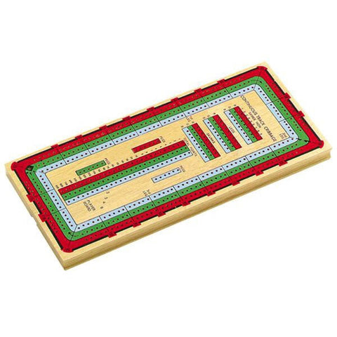 14½ inch 3 Track Multi Colored Cribbage Board
