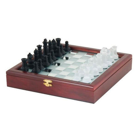 10 inch Black and White Mirror Board Chess Box
