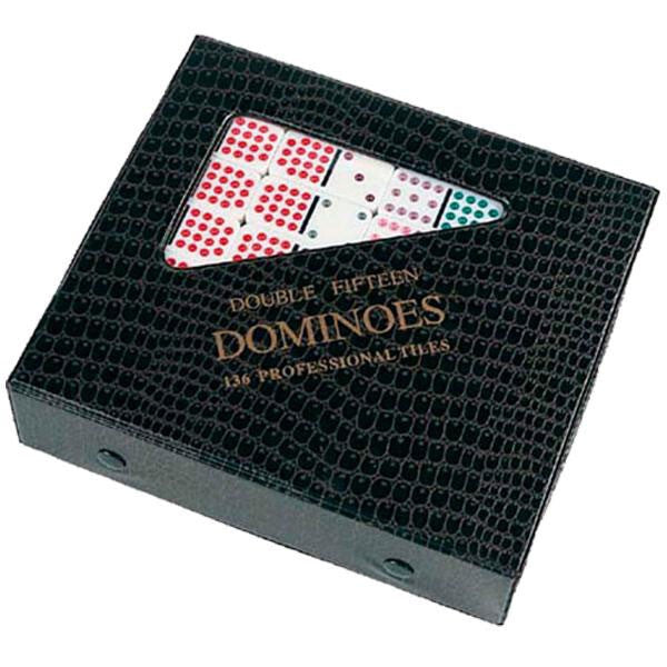 Professional White Double Fifteen Dominoes with Color Dots