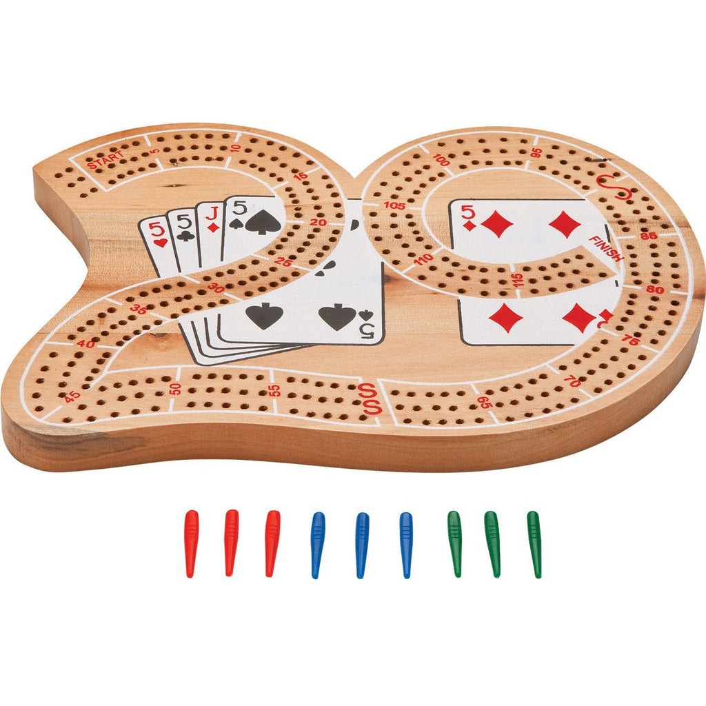 "10"" Wooden 3 Track Cribbage Board"