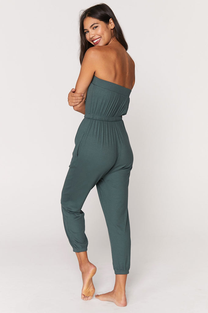 Ribbed Cinched Jumpsuit - Dusty Olive