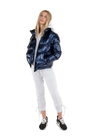 Womens Metallic Puffer - Navy