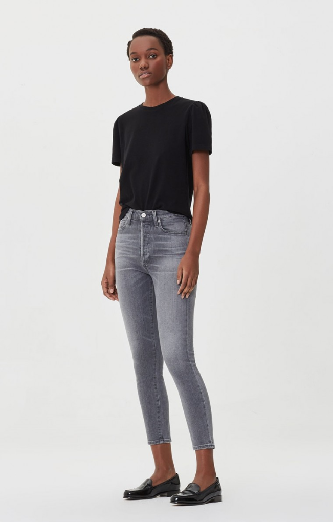 Olivia Crop High Rise Slim - Granite