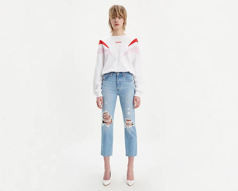 501 Crop Patched Jeans