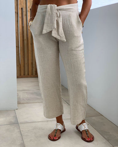Box Tie Pant - Natural