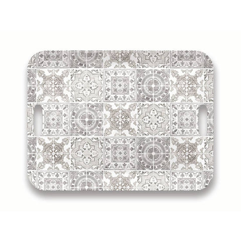 Portico Tile Handled Tray - Grey