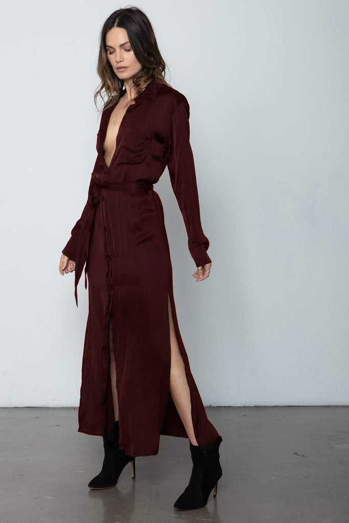 Darian Shirt Dress - Deep Red
