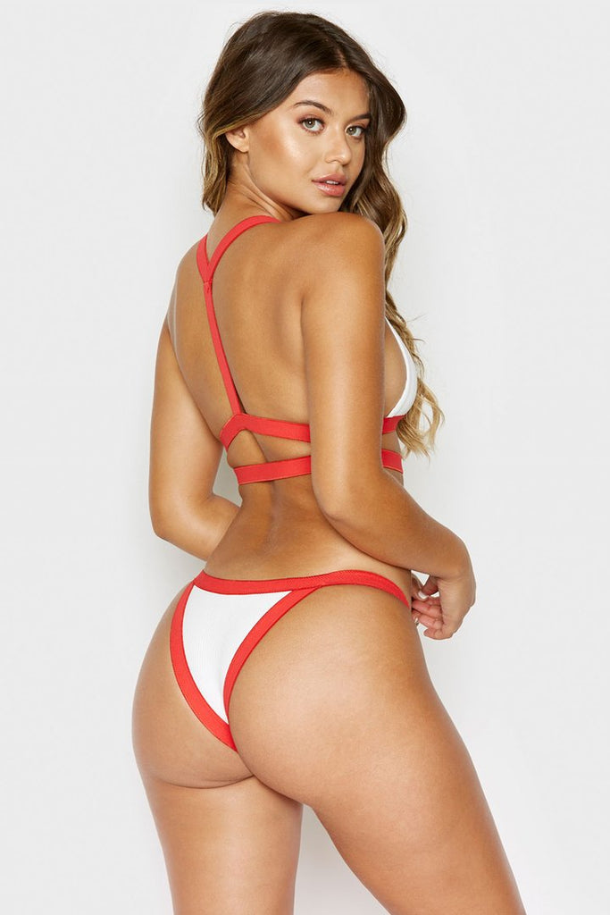 Devon Bottom - White Rib w/ Red