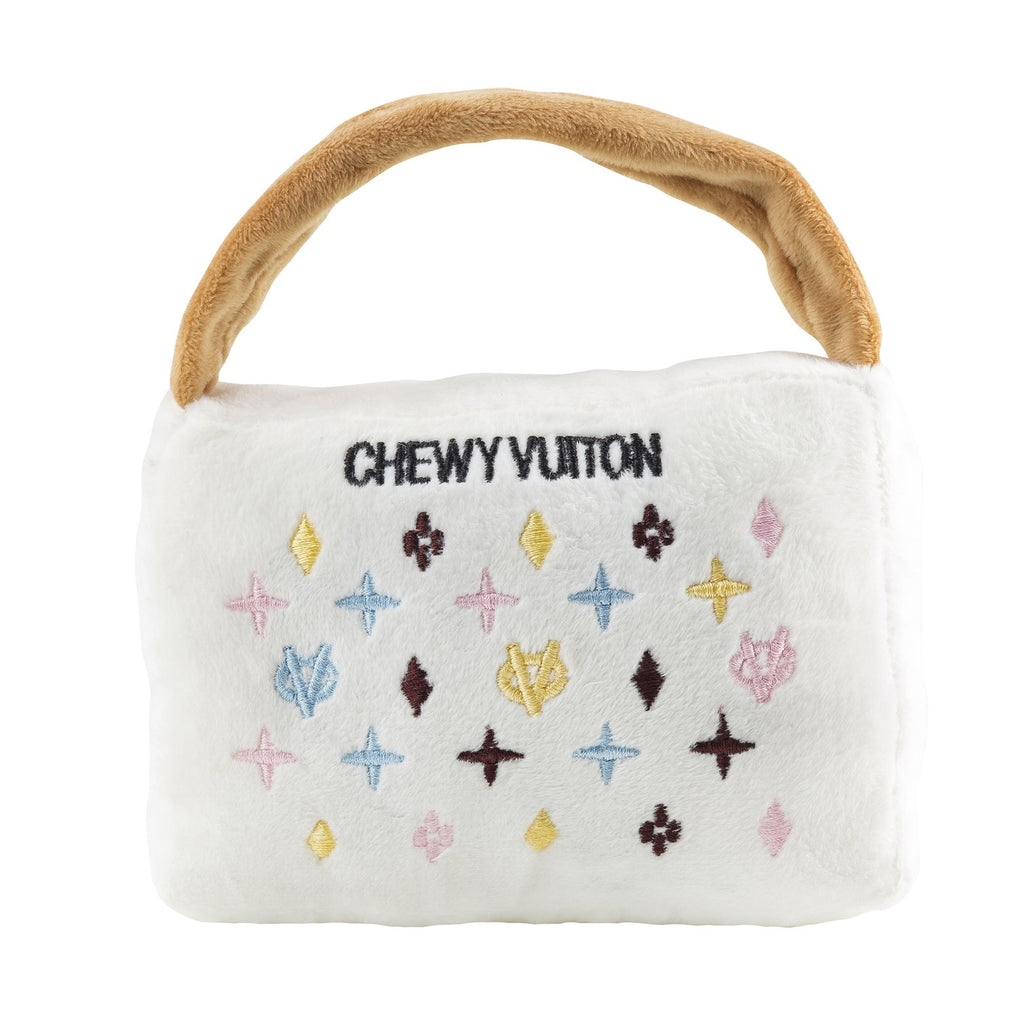White Chewy Vuiton Purse Toy