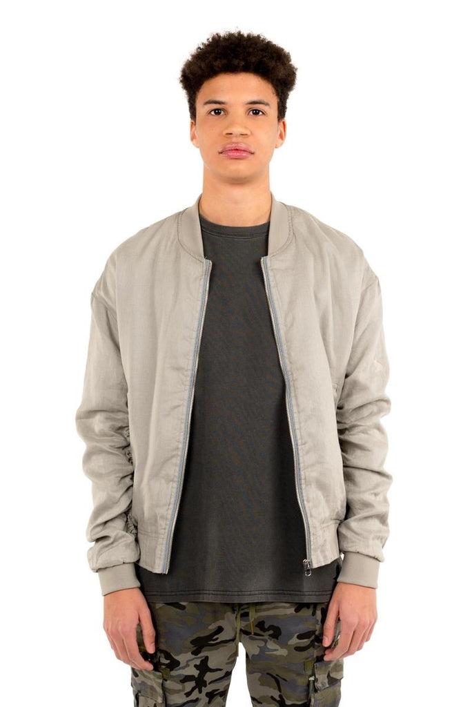 Linen Essential Bomber - Taupe