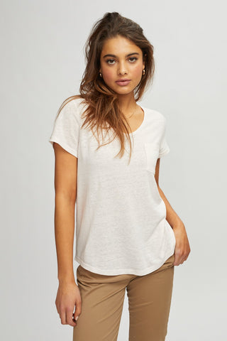 Linen V-Neck - Light Pink