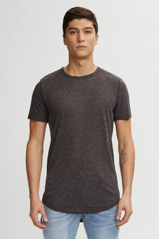 Linen Hi-Lo Tee - Mix Black