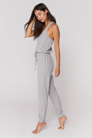 Giselle Rib Jumpsuit - Heather Grey
