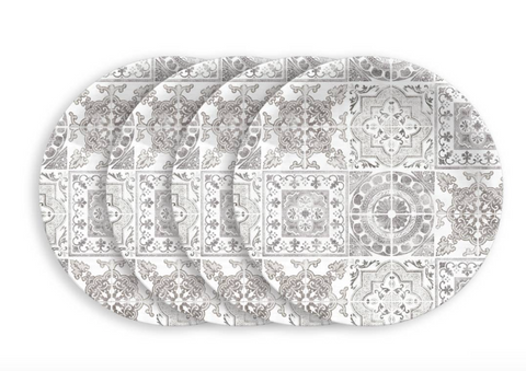 Portico Tile Salad Plates - Grey