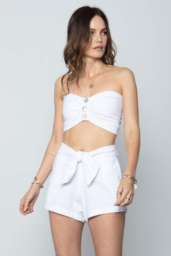 Box Tie Short - White