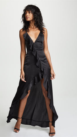 Isabella Ruffled Maxi Dress - Black