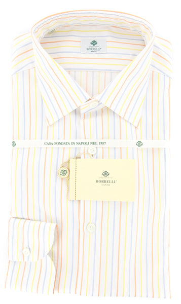 $425 Luigi Borrelli Yellow Striped Shirt - Extra Slim - (GB5703) - Parent