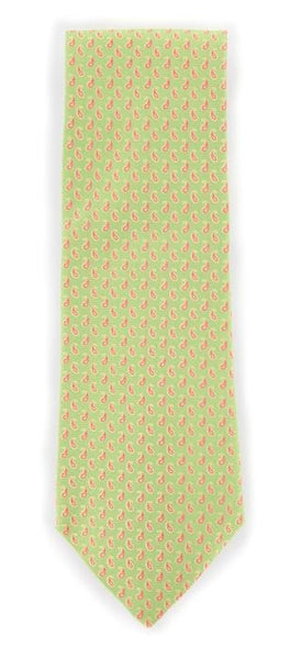 "New $195 Tie Your Tie Green with Pink and Beige Paisley Tie - 3.5"" Wide"