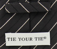 "New $195 Tie Your Tie Brown - Cream, Black Stripes Tie - 3.25"" x 58"""