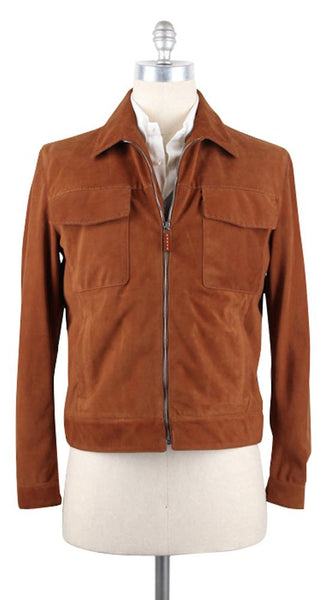 New $5000 Cesare Attolini Caramel Brown Suede Jacket - Zipper Front - 40/50