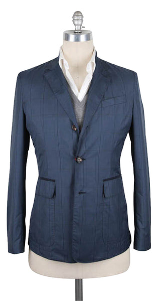 New $2125 Luciano Barbera Blue Plaid Jacket - 40/50 - (111064/35133/88)