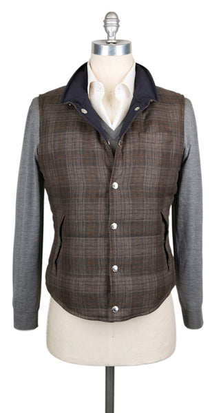 $2595 Brunello Cucinelli Brown Plaid Reversible Vest - (BC1105MH424) - Parent