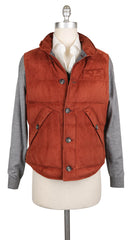 $3645 Brunello Cucinelli Orange Suede Solid Jacket Vest - XL/XL - (621)