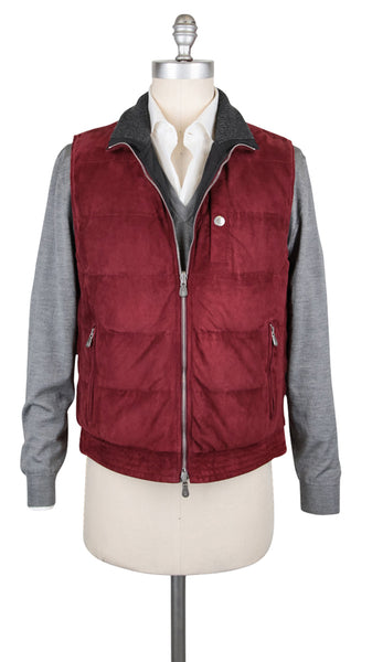 $4745 Brunello Cucinelli Red Reversible Suede Leather Vest - (NM) - Parent