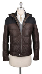 New $6465 Brunello Cucinelli Brown Leather Fancy Puffer - 38/48 - (BC929171)