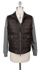 $4395 Brunello Cucinelli Reversible Dark Brown Vest - (BC1236MPLONA) - Parent