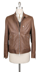 $4795 Brunello Cucinelli Brown Leather Solid Moto Jacket - (606) - Parent