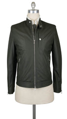 $5145 Brunello Cucinelli Dark Green Leather Moto Jacket - M US/50 EU - (153)