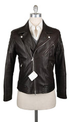 New $5775 Brunello Cucinelli Brown Leather Fancy Jacket - 42/52 - (BC929176)