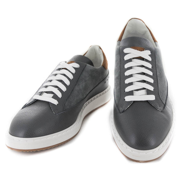 $1175 Brunello Cucinelli Gray Leather Sneakers - (511) - Parent