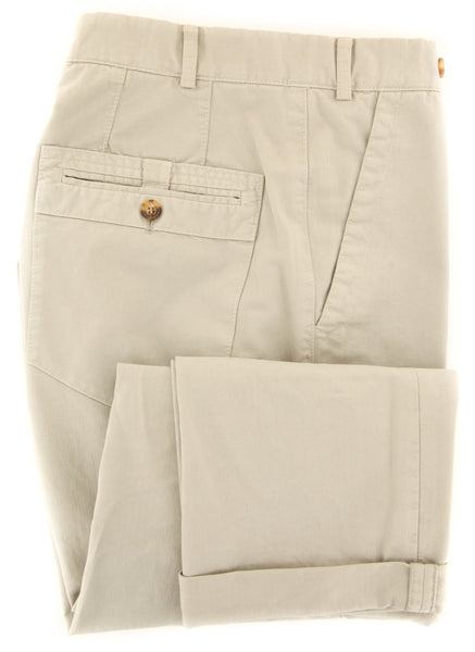 $595 Brunello Cucinelli Beige Solid Pants - Slim - (BC2252M47PC1535) - Parent