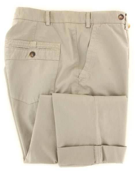$595 Brunello Cucinelli Beige Solid Pants - Slim - (BC2352M58PC1535) - Parent