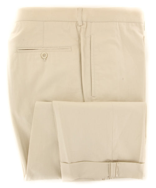 $595 Brunello Cucinelli Beige Solid Pants - Slim - (56726N206) - Parent
