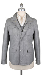 $2995 Brunello Cucinelli Gray Cotton Micro-Houndstooth Jacket - 40/50 - (NA)