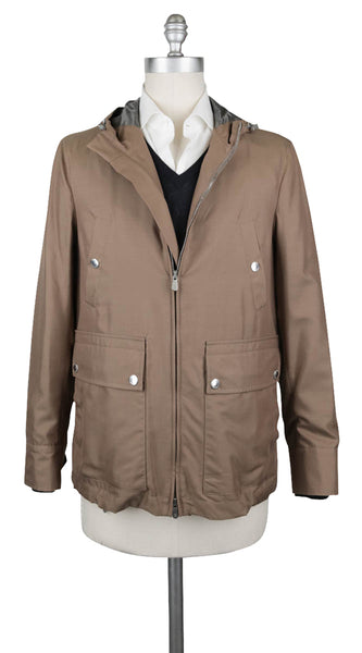 $2495 Brunello Cucinelli Light Brown Water Resistant Silk Jacket - (167) - Parent