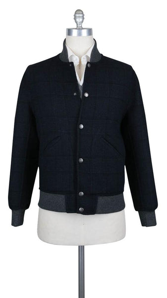 $5695 Brunello Cucinelli Navy Blue Wool Reversible Bomber Jacket - (612) - Parent