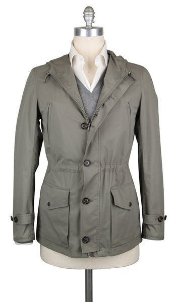 $2065 Brunello Cucinelli Olive Green Cotton Solid Jacket - (AX) - Parent