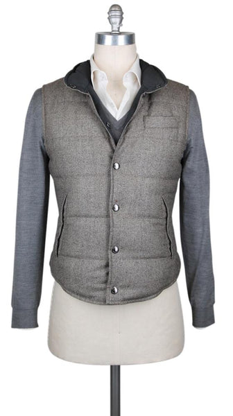 New $2960 Cucinelli Reversible Wool Fancy Vest - (BC4521169374) - Parent