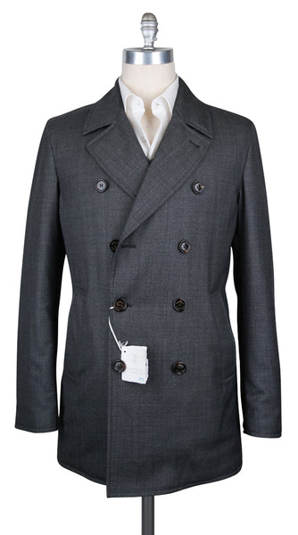 New $2995 Cucinelli Charcoal Gray Wool Solid Peacoat - (BC4686352259) - Parent