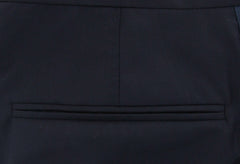 $1150 Brunello Cucinelli Navy Blue Solid Wool Blend Pants - Slim - (RE) - Parent