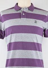 New $460 Brunello Cucinelli Purple and Gray Striped Polo Small